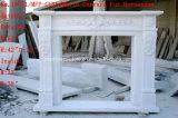 Mensola del camino di marmo Sy-Mf319 del camino intagliata mano bianca di Carrara