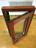 American Style manivela plegable de aluminio con revestimiento de madera Ventana del marco, América del Villa sólido de madera de roble oscilo-ventana