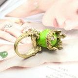 Anéis chapeados da indicação da coroa do Rhinestone do crânio ouro de pedra natural verde