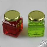 Опарник меда стеклянного шестиугольника опарника варенья /Hexagonal бутылки хранения стеклянный с алюминиевой крышкой