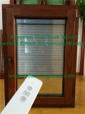 Finestra di legno placcata di alluminio pieghevole della stoffa per tendine della manovella di stile americano, finestra solida di inclinazione & di girata di legno di quercia della villa dell'America