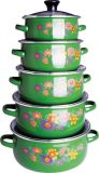 High Quality 6 PCS Set Casserole with Enamel Cover, Dark Colors
