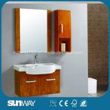Contador espelhada montada na parede de madeira sólida para casa de banho Sw-OA007
