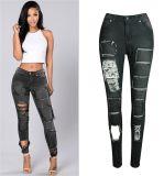 2017 jeans élastiques de denim de vente chaude pour des femmes avec des trous