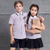 Conception primaire d'uniformes scolaires d'enfants d'uniforme scolaire de vente en gros de garçons de chemises faites sur commande unisexes de filles