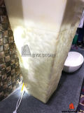 Lavatório Bege Onyx Bacia de pedestal para decoração de banheiro