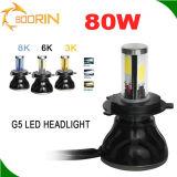 Lâmpada principal do farol da luz do carro do diodo emissor de luz de H4 H7 H11 auto com as 4 microplaquetas 80W 8000lm da ESPIGA dos lados