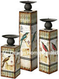 S/3 Camellia Rose Vintage Design de mobiliário em madeira MDF/adesivo de papel metálica quadrada do suporte para velas