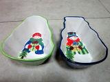 La vaisselle en céramique peints à la main de Noël Bonhomme de neige Tidbit plat (GW1284)