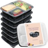 Almacenamiento Sood Uso Negro Plástico Microondas envase de alimento con el divisor