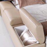Кровать кожи мебели спальни конструкции двойной кровати способа самомоднейшая (FB3073)