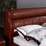 Роскошная классическая кровать кожи типа для живущий мебели Fb3080 комнаты