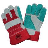 Отрезанные подкреплением перчатки упорной безопасности кожаный работая