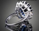 Кристалл способа роскошный звенит синее кристаллический белое кольцо J01800