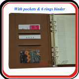 Изготовленный на заказ дневник Orangizer связывателя кольца PU 6 карманн названной карточки