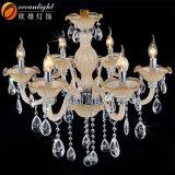 Lámpara moderna ambarina clara barata del hotel del brazo de cristal con los cristales de cristal Omc017 de las gotas de agua de los tazones de fuente de las tazas