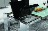 La parte superior de cristal templado MDF de acero inoxidable Mesa de Comedor Extensible