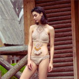 Häkelarbeit gestrickter Troddel-Bikini-böhmischer Strand-dünn dünner Riss-Badeanzug