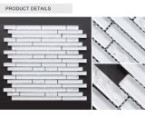 Comercio al por mayor calidad decorativa interior franja blanca Mosaico de vidrio satinado