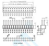 Preço competitivo pH: 1.27mm fileiras duplas de pinos do conector de ângulo direito