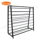 Double Sided Flooring Stand Retail Metal Fabric Roll Display Rack