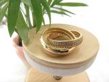 백색 CZ 모조 다이아몬드를 가진 최신유행 열십자 모조 금 반지