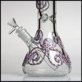 Bécher de 7 mm Violet Octopus verre peints à la main de fumer pipe à eau