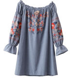 Madame Skirt de chemise de série de broderie longue outre d'épaule