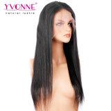 Peruca cheia do laço em linha reta do cabelo brasileiro natural por atacado não processado do Virgin do ser humano de 100%