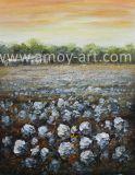 Campo de algodão americano ocidental com pequeno celeiro pinturas a óleo para decoração