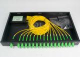 Tipo divisor de fibra óptica do PLC do divisor 1 x 16 da cremalheira da única modalidade
