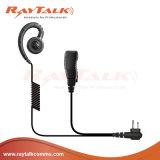 MotorolaのラジオのためのインラインPttのマイクロフォンが付いているCの形の耳のホックの受話口
