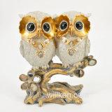 Escultura feita sob encomenda da coruja da pintura da mão da escultura para a decoração interna