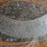 Spitze-vorderes Menschenhaar-grauer Farben-MännerToupee (PPG-l-0619)