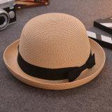 No Verão personalizado Palha Fedora Senhora a caçamba a Sun Cap Hat