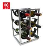 Hierro derecho libre de las botellas del sostenedor de botella de vino del metal 6 con el estante del vino de la PU