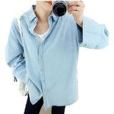 Camicia femminile del denim di polo di modo caldo di vendita