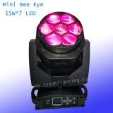 7X15W 급상승 소형 LED 단계 광선 꿀벌 눈