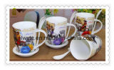 Tazze di caffè di ceramica all'ingrosso di abitudine 12oz con il cucchiaio bianco