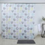 100% poliéster impermeável a cortina do chuveiro com tons pastel Design de flores