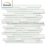 8 mm de bande de papier glacé blanc pur Mix Stone Mosaïque de verre