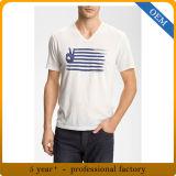 T-shirt estampé par polyester du coton 65% bon marché de 35% des hommes d'OEM