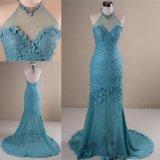 Novo Flores Rendas e Chiffon Sereia parte azul vestido de Noite
