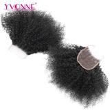 Размер 4*4 закрытия верхней части шнурка Afro человеческих волос Yvonne курчавый