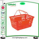 Paniers de magasinage en plastique avec le double de mains pour le supermarché