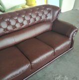 ボタンデザイン(619)のブラウンカラーホーム家具の本革のソファー