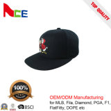 カスタマイズされた新しく黒いアクリルの平らな刺繍されたかわいいAnmialの平らな円形の縁の帽子