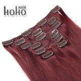 最上質のまっすぐな波の赤いカラー毛の拡張の20インチクリップ