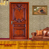 Porta de madeira maciça porta de sala de madeira sólida interior (GSP2-002)