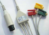 Monitor médico 6pin IEC/Aha Snap&Clip 3/5 cable de ECG